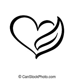 Vintage scandinavian vector icon heart shape and leaf. Can be used for eco, vegan herbal healthcare or nature care concept logo design