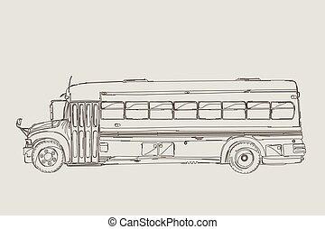 Vintage school bus sketch