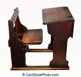 old school desk with ink well