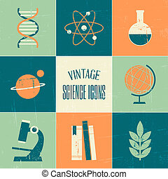 A set of vintage style science and education symbols.