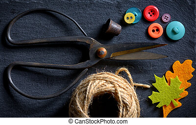 vintage scissors with a roll of twine