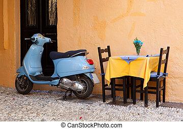 Vintage scooter in Rhodes - Blue Vintage scooter in Rhodes...