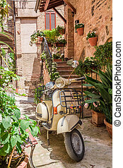 Vintage scooter on the beautiful porch in italy
