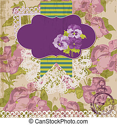 Vintage Scrapbook Design Elements - Viola flowers in vector