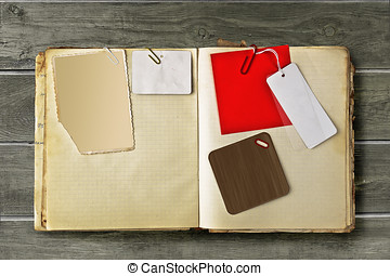 Vintage scrapbook - Vintage notebook with stained pages...