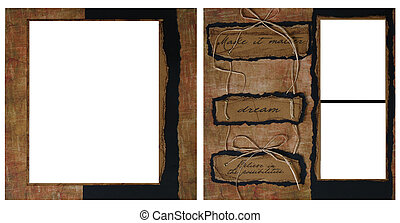 Vintage Scrapbook - Torn Grunge Square Frame Scrapbook...