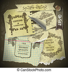 Vintage scrapbook with old style paper design elements