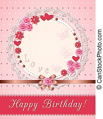 vintage scrapbooking birthday card with flowers on the napkin