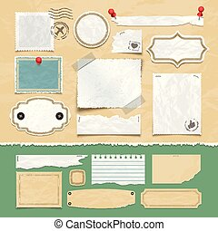 Vintage scrapbooking vector elements. Old scrap papers, photo frames, and labels
