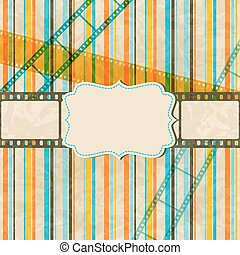 Vintage scratch background with film frame. Vector Eps 10