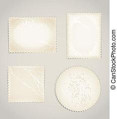 Vintage scratched post stamps template clip-art