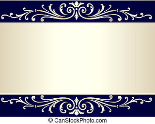 Vintage scroll background in silver beige and blue - Elegant...