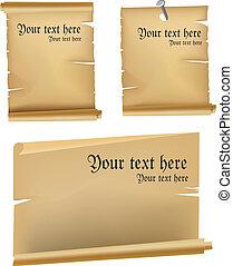 Vintage scroll Manuscript vector set
