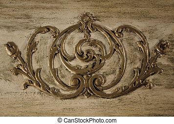 Vintage Scroll Work - Scroll work from the front of an...