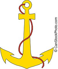 Vintage sea anchor with a rope. vector