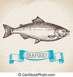 Vintage sea background. Hand drawn sketch seafood