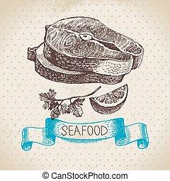 Vintage sea background. Hand drawn sketch seafood