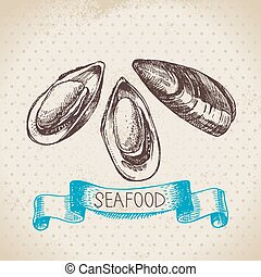 Vintage sea background. Hand drawn sketch seafood vector...