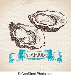 Vintage sea background. Hand drawn sketch seafood vector illustration of oysters