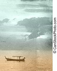 Vintage sea background - sunset