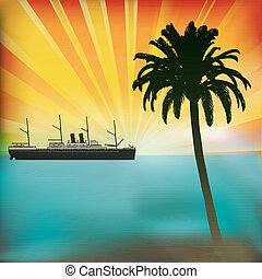 Vintage Sea Cruise, Tropical Vector Background with a sunset and classic Steam Liner