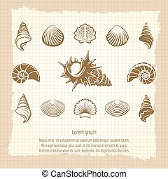 Vintage sea shell silhouettes set