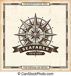 Vintage Seafarer Label - Vintage seafarer label in retro...