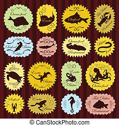 Vintage seafood labels illustration collection background...