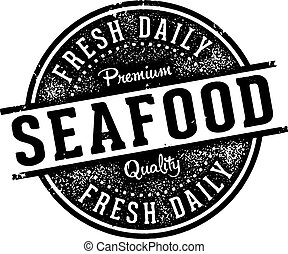 Vintage Seafood Menu Design Stamp