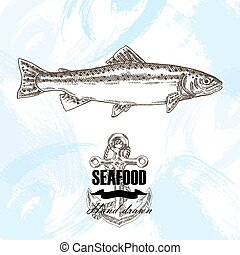 Vintage seafood sketch background. Hand drawn wild trout fish vector illustration.