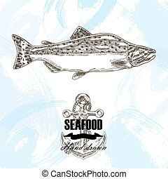 Vintage seafood sketch background. Hand drawn salmon fish vector illustration.