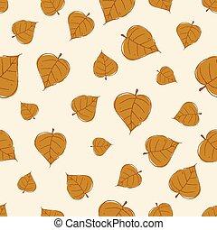 Vintage Seamless Autumn Leaves Pattern.