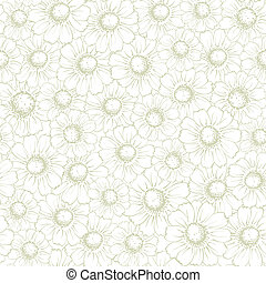 Vintage Seamless Background With Elegant Chamomiles