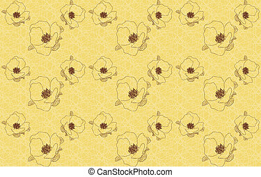 Vintage seamless background with flowers wild rose