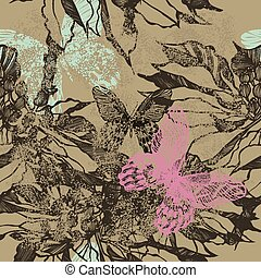 Vintage seamless background with flowers and butterflies. Vector