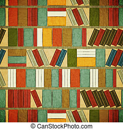 Vintage Seamless Book Background - Bookcase Vector Background - Grunge style