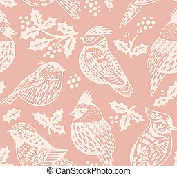 Vintage seamless Christmas pattern with ornamental birds and...