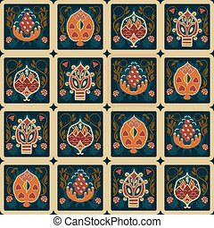Vintage seamless ethnic pattern with tropical flowers in the squ