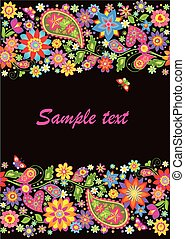 Vintage seamless floral border with paisley