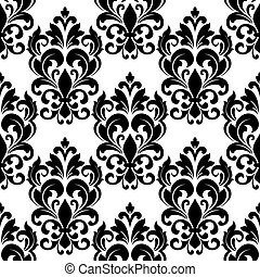 Vintage seamless floral pattern with arabesque elements