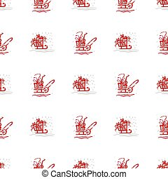 Vintage seamless Merry christmas pattern with sleigh and gifts in hand drawn style on white background.
