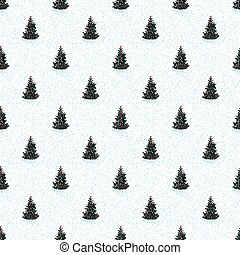 Vintage seamless Merry christmas pattern with tree fir in hand drawn style on white background.