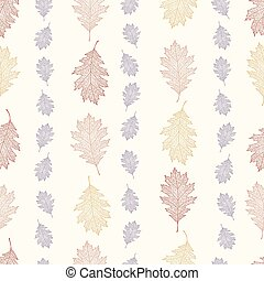 Vintage seamless pattern from the leaves of red oak arranged...