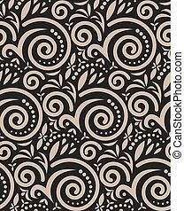 Vintage Seamless Pattern On Black.