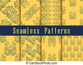 Vintage seamless pattern set. Baroque ornament. Gold colour. Vector illustration