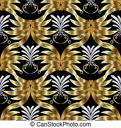 Vintage seamless pattern. Vector gold silver black background wi