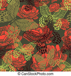 Vintage seamless pattern with butterflies and roses. Vector illustration.