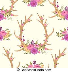 Vintage seamless pattern with deer antlers and flowers....