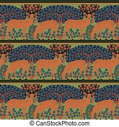 Vintage seamless pattern with deer.
