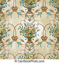Vintage seamless pattern with flowers. EPS 10